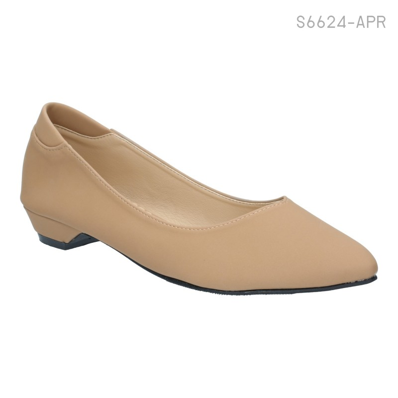 รองเท้าคัทชู ส้นเตี้ย หัวแหลม สไตล์เกาหลี (สีแอปริคอท )