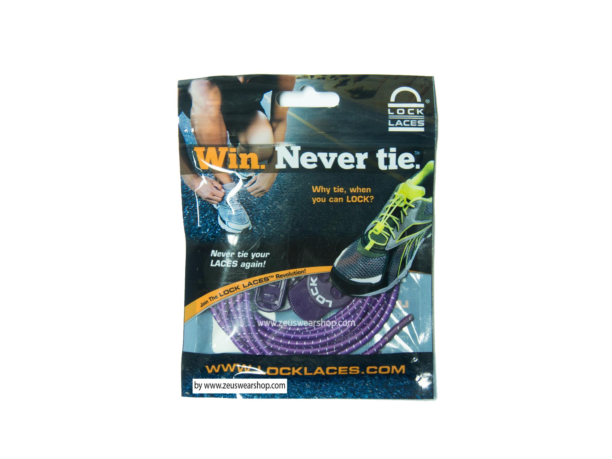 เชือกรองเท้าวิ่ง LOCK LACES สีม่วง ล็อคแน่น ไม่ต้องผูกเชือกรองเท้า