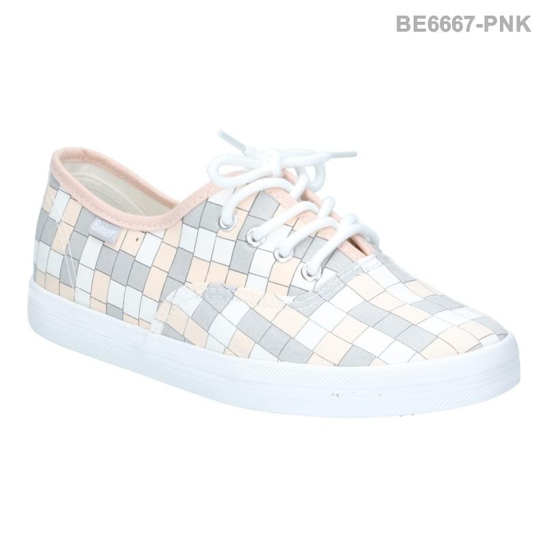 รองเท้าผ้าใบผู้หญิง แบบผูกเชือก ลายตาราง (สีชมพู )