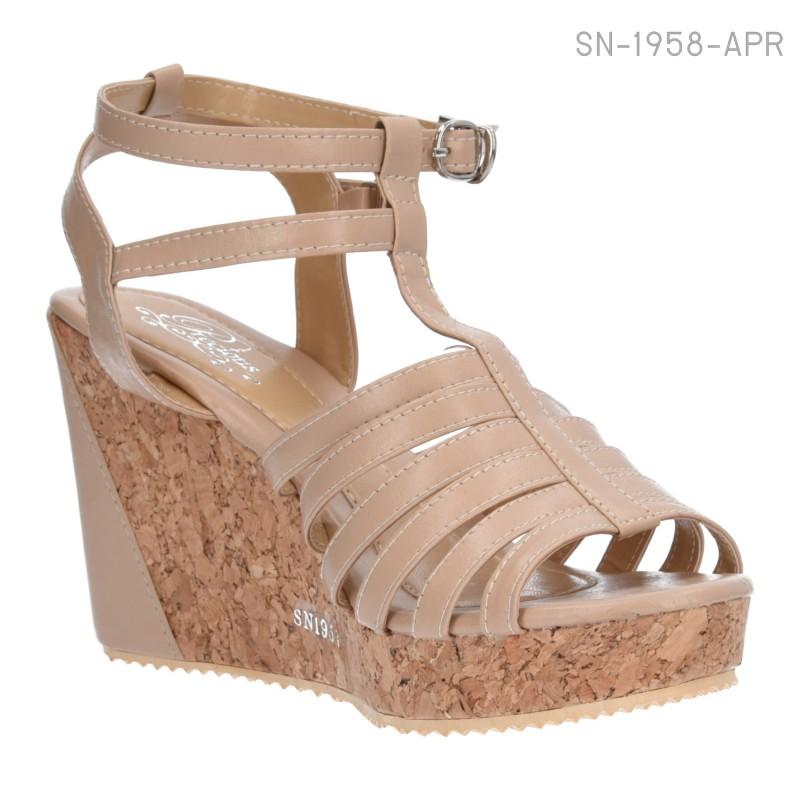 รองเท้าส้นเตารีดรัดส้น สไตล์โรมัน (สีแอปปริคอท )