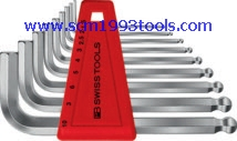 PB Swiss Tool พีบีสวิสทูล รุ่น PB212-H-6 ประแจหกเหลี่ยมหัวบอลแบบสั้น 7 ตัวชุด ball point hex key L-wrenches sets for hexagon socket screws