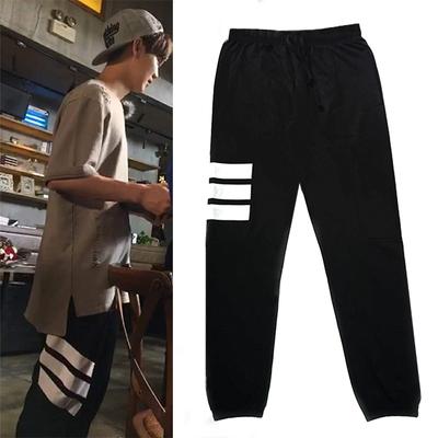 กางเกงขายาวสีดำ Lu Han EXO แต่งแถบเส้นด้านข้าง