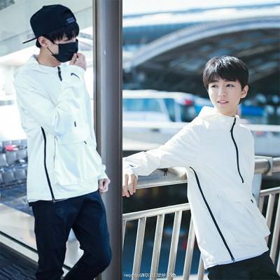 เสื้อฮู้ดแจ็คเก็ตสีขาว TFBOYS ซิบครึ่งตัว แต่งกระเป๋า