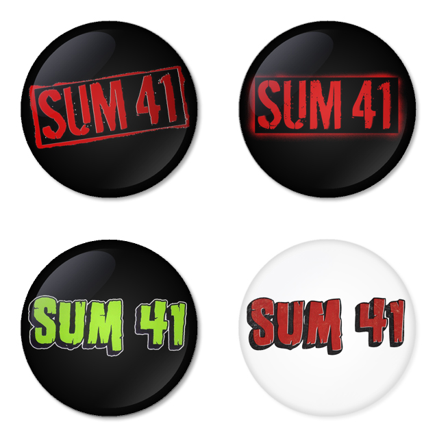 Sum41 button badge 1.75 inch custom backside 4 type Pinback, Magnet, Mirror or Keychain. Get 4 in package [7]