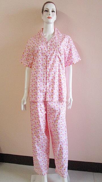 ชุดนอน(ญ)ขายาวแขนสั้น ผ้า Cotton แบบลายดอก สีชมพู ฟรีไซส์