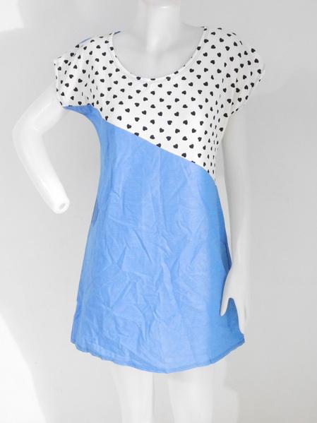 ขายส่งเสื้อผ้าแฟชั่นผ้ายีนส์ผ้าเนื้อดีไม่หนา แต่งผ้ายืดลายหัวใจช่วงหน้าอก สวยงามดูดีค่ะ รอบอก 36 นิ้ว