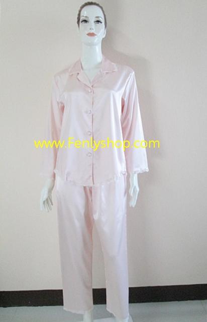 ชุดนอน(ญ)ผ้าซาตินกางเกงขายาวแขนยาว สีส้มอ่อน สีสวย เสื้อรอบอก 40 นิ้ว