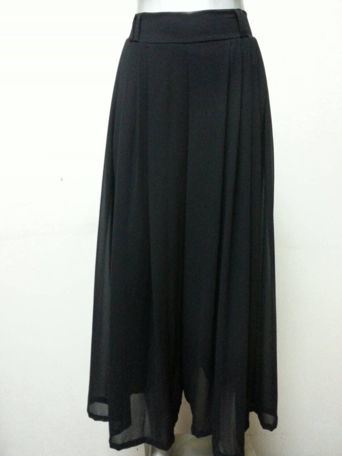 กางเกงผ้าชีฟองขายาว สีดำ