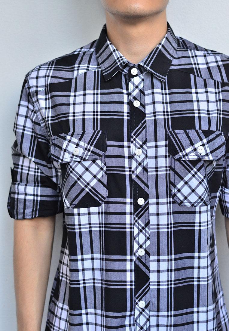 เสื้อเชิ้ตลายสก๊อต ผู้ชาย สีดำ-ขาว