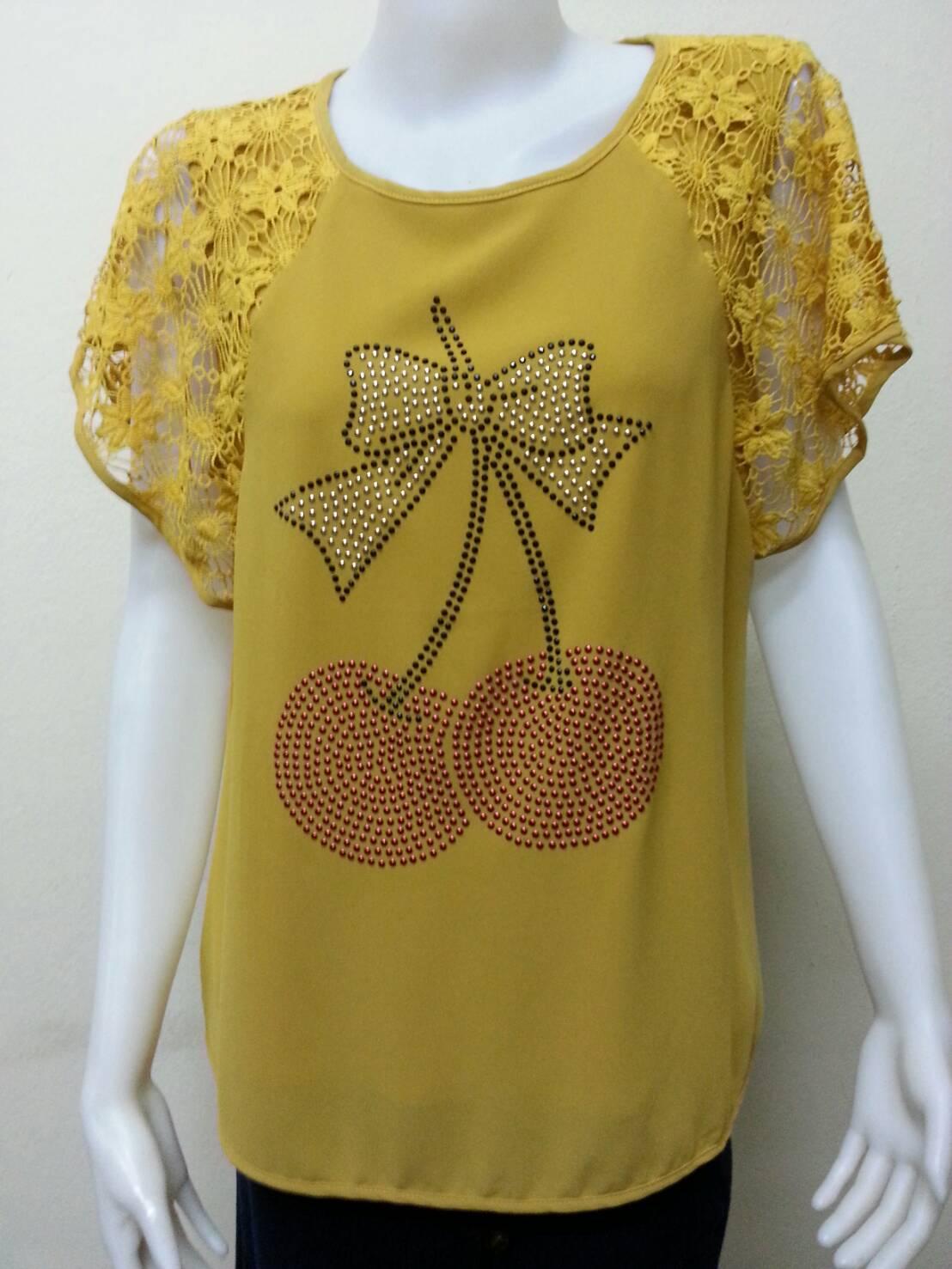 เสื้อคอกลมผ้าชีฟอง สีเหลืองไพร BY Kut Katawetee