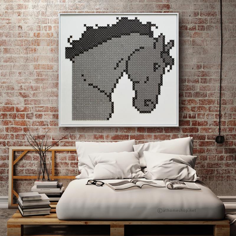 ภาพแต่งผนัง รูปม้าสีเทา Wall Decor Grey Horse