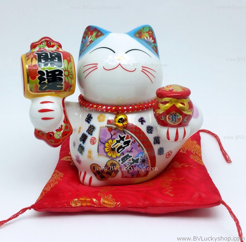 แมวนำโชค แมวกวัก สูง5นิ้ว ถือถุงเงินทอง และค้อนให้โชคลาภ [35512]