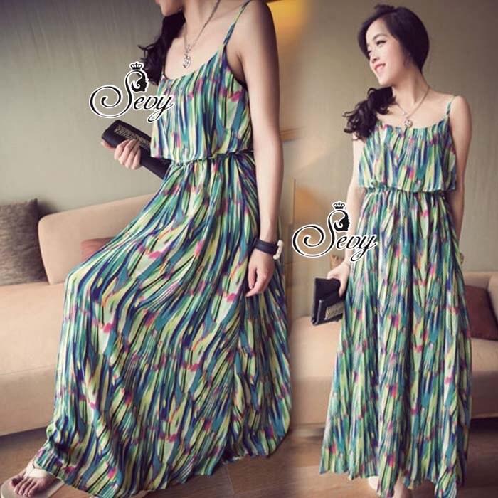 Camisole Rainbow Chiffon Elastic Waist Maxi Dress