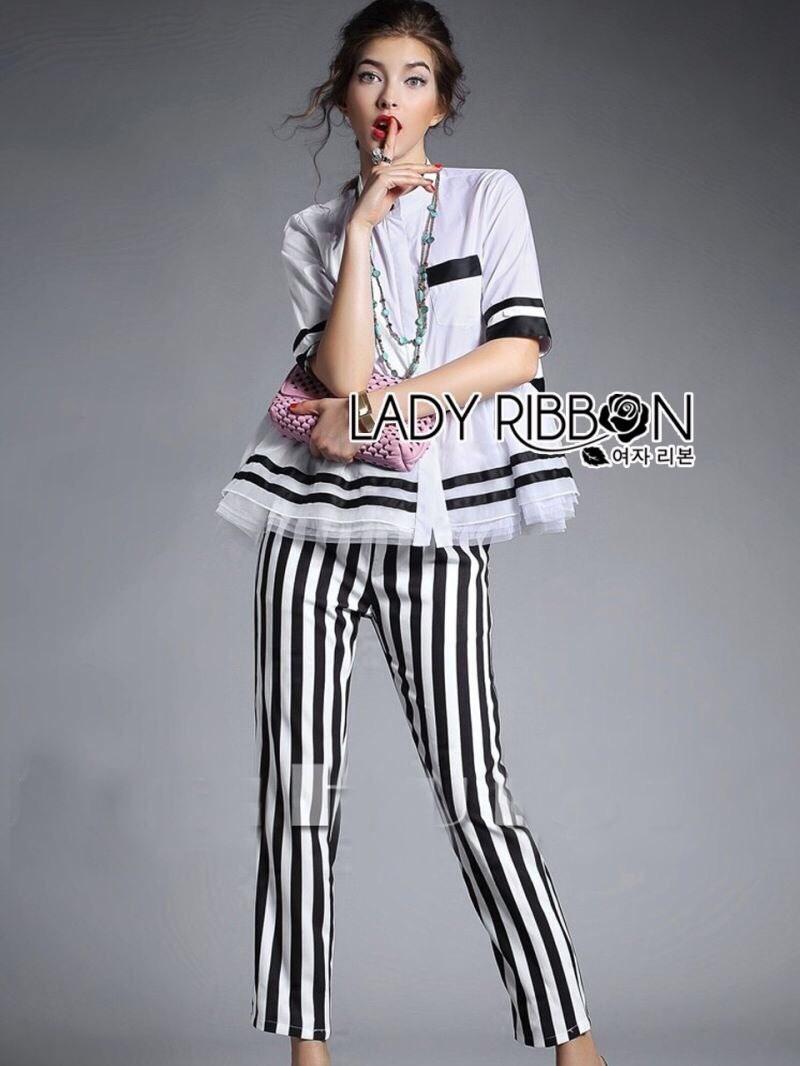 Alica Super Chic Peplum Striped Shirt and Striped Pants Set