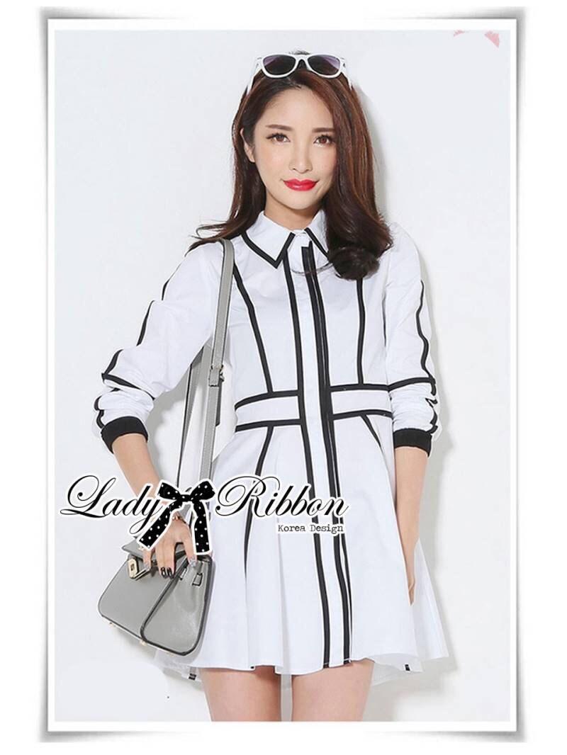 Lady Minimal Monochrome Striped Flared Shirt Dress