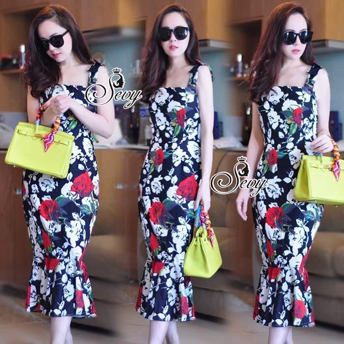 Forked Spade Flora Ribbon Shoulder Mini Dress