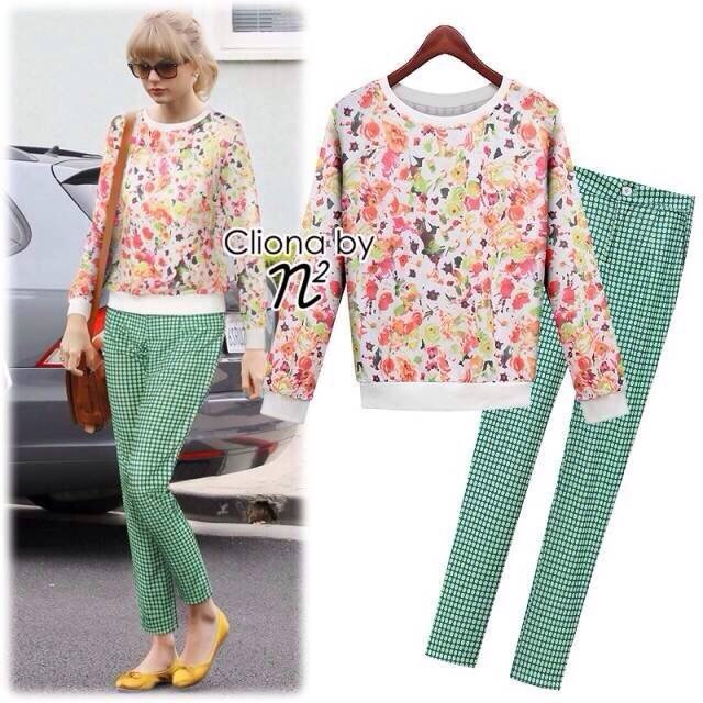 Greenery Floral Sweater Set