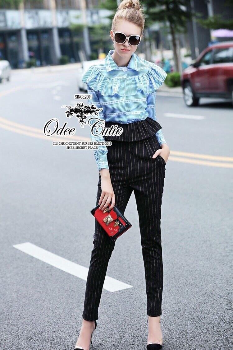 Miu Miu autumn winter blouse and peplum pants