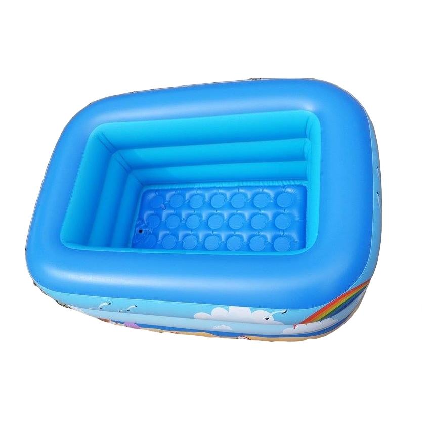สระน้ำเด็กเป่าลม สีฟ้า ลายหนูน้อยบนหาดทราย ขนาดกลาง 130 cm ขอบ 3 ชั้น แถมฟรี ห่วงยางคอเด็ก