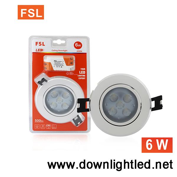 ดาวน์ไลท์ LED ยี่ห้อFSL 6w (แสงส้ม)