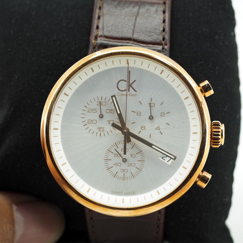 Calvin Klein Substantial Brown Leather Men's Quartz Watch (K2N276G6)