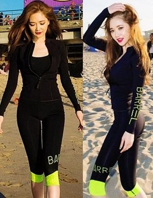 [พร้อมส่ง]ชุดว่ายน้ำแขนยาว กางเกงขายาวสามส่วน สีดำขอบสีเขียวส้ะท้อนแสง เซ็ต 4 ชิ้น (บรา+บิกินี่+เสื้อแขนยาวซิปหน้า+กางเกงสามส่วน)