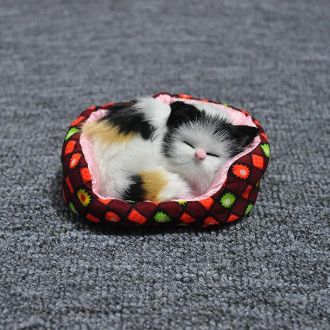แมวนอนหลับบนโซฟา แมวสีเหลืองขาวดำ 11x10