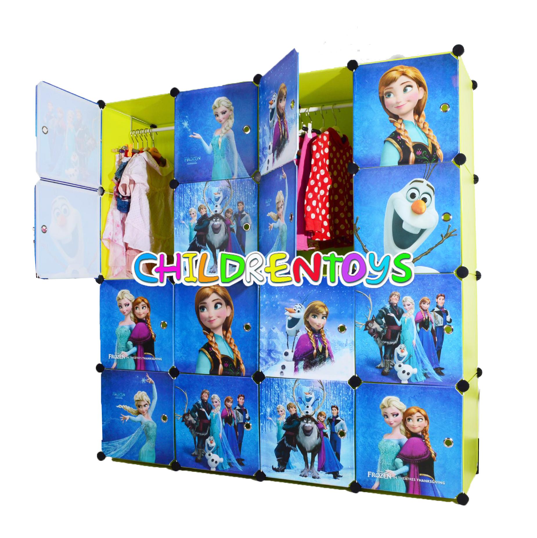 ตู้เสื้อผ้าเด็กพลาสติก DIY ลายโฟรเซ่น Frozen
