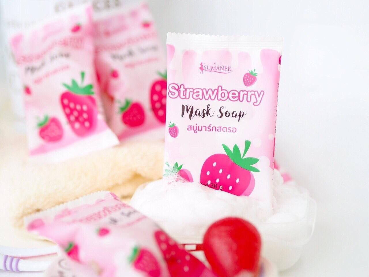 สบู่มาร์คสตอเบอรี่ Strawberry Mask Soapby sumanee