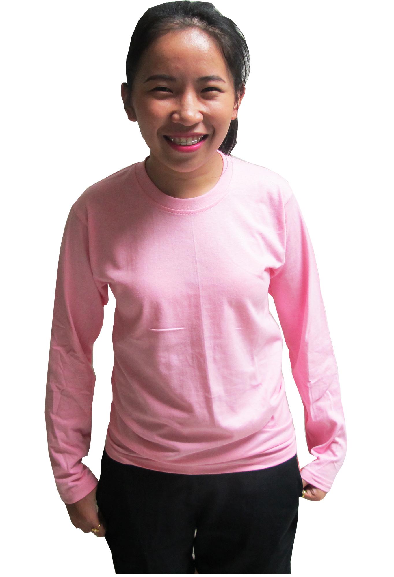 เสื้อยืดคอกลมแขนยาว สีชมพู