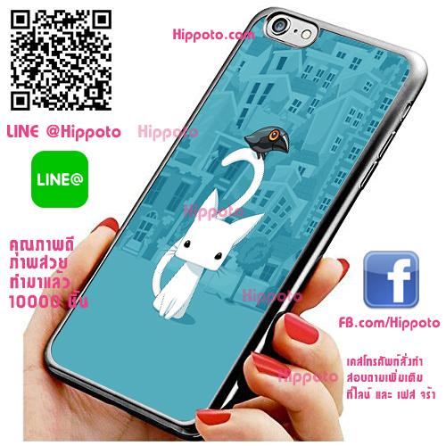 เคส ไอโฟน 6 / เคส ไอโฟน 6s แมวขาว นกกาดำ เคสสวย เคสโทรศัพท์ #1152