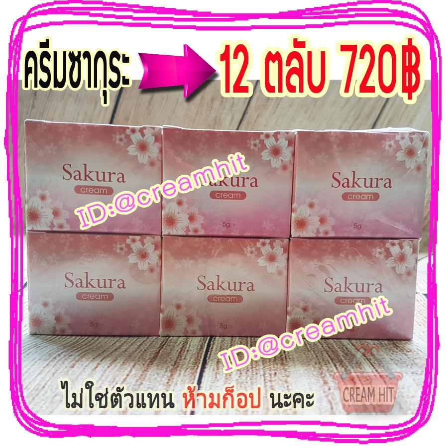 ครีมซากุระ 12 ตลับ ครีมหน้าใส Sakura Cream 5G.ราคาส่งถูก