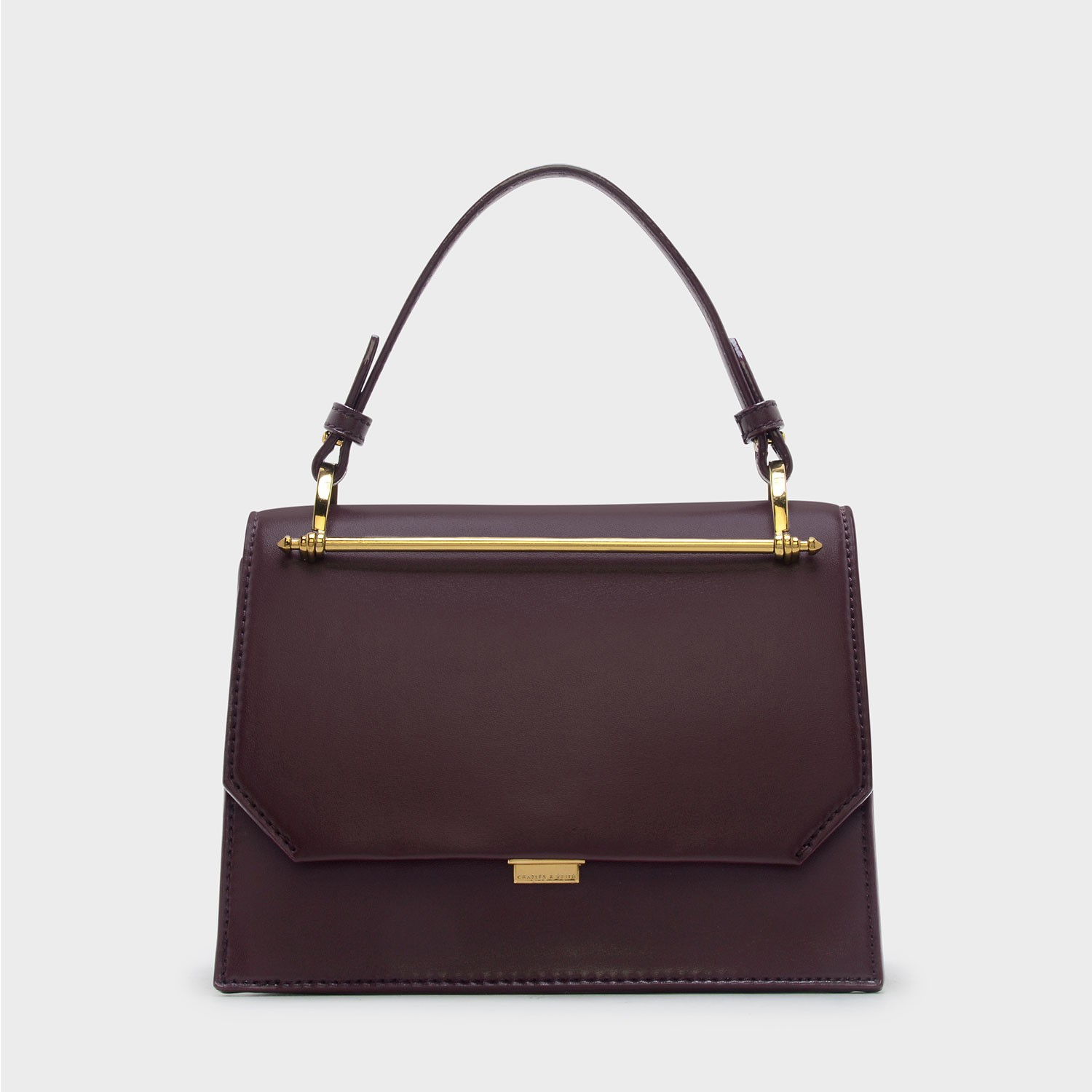 CHARLES & KEITH STRUCTURED HANDBAG *Burgundy