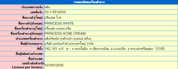 เลขที่จดแจ้ง อย. Princess Acne Cream