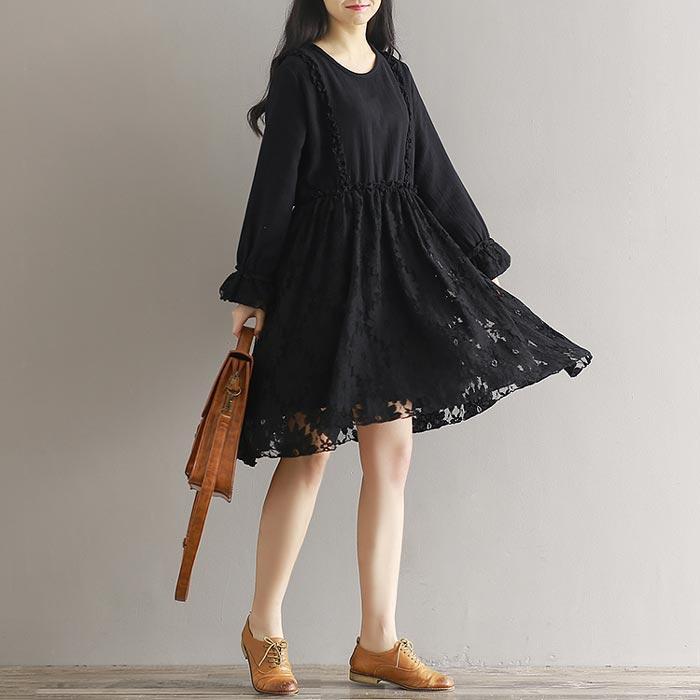 ชุดเดรสลูกไม้ ชุดผ้าลูกไม้สวยๆ สีดำ แฟชั่นเกาหลี น่ารักๆ แขนยาว คอกลม