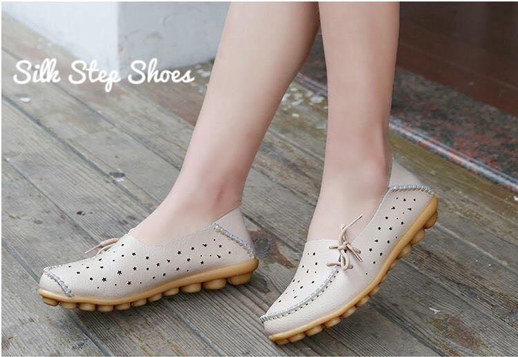 SK08 รองเท้าหนังนิ่มฉลุรูปดาว (หนังวัว) SIZE 34-44