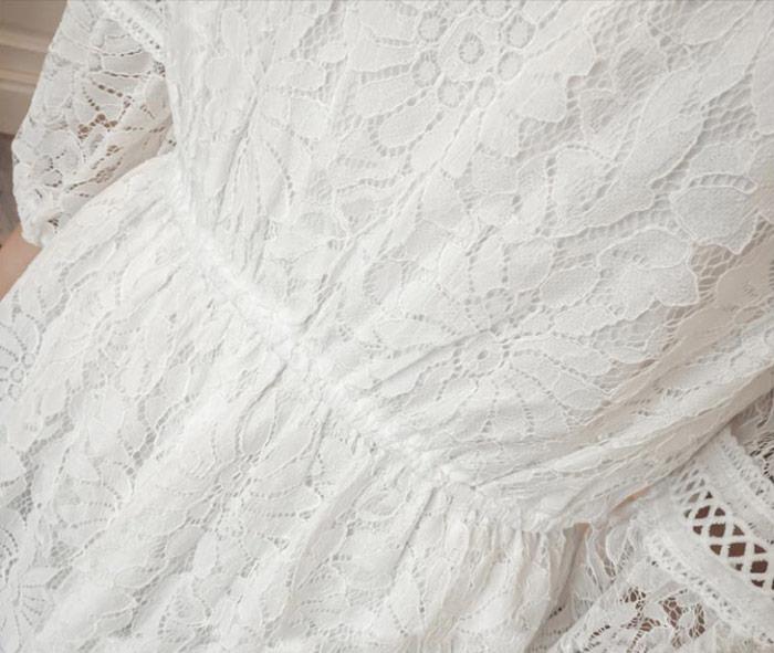 ชุดเดรสยาวผ้าลายลูกไม้สวยๆ ชุดกระโปรงลูกไม้ออกงาน แฟชั่นสไตล์เกาหลี มีสีขาว สีดำ แขนสามส่วน คอปิดฉลุลูกไม้ กระโปรงแต่งลูกไม้ลายเก๋ มีซับใน ใส่สบาย ใส่ออกงานสวยเลิศมากค่ะ
