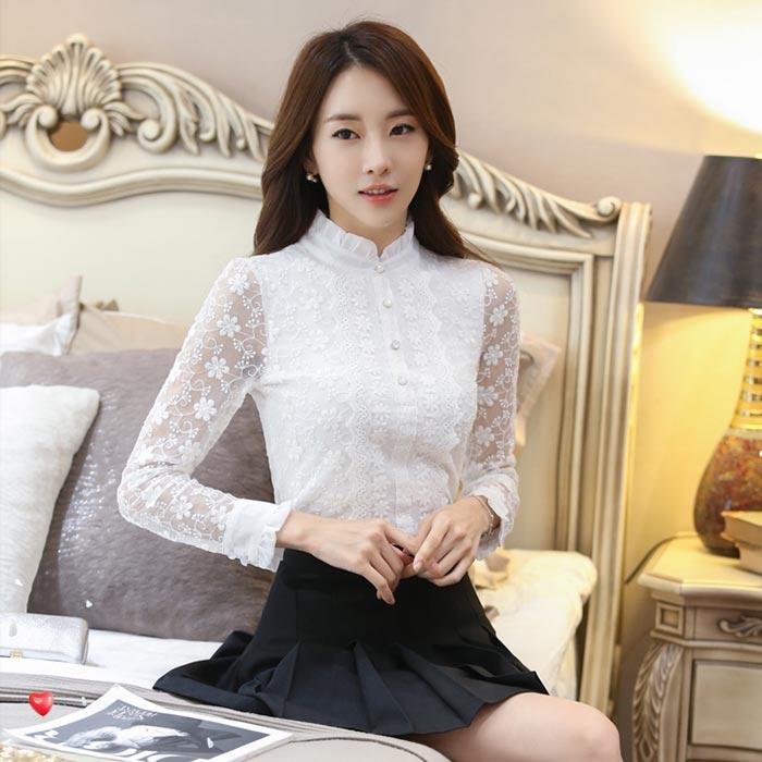 เสื้อลูกไม้สวยๆ เสื้อลายลูกไม้แฟชั่นเกาหลี สีขาว แขนยาว ผ้านุ่ม ใส่ออกงานเลิศๆ