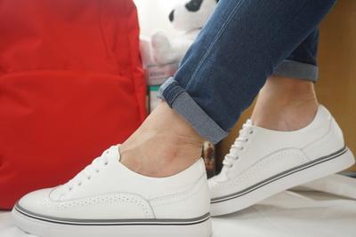 รองเท้าสไตล์เกาหลี Loafer ผูกเชือก-สีขาว Size 35