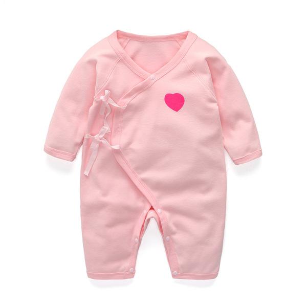 ชุดผูดเด็ก 3-6 เดือน ผูกหน้า สีชมพู ขายาว แขนยาว