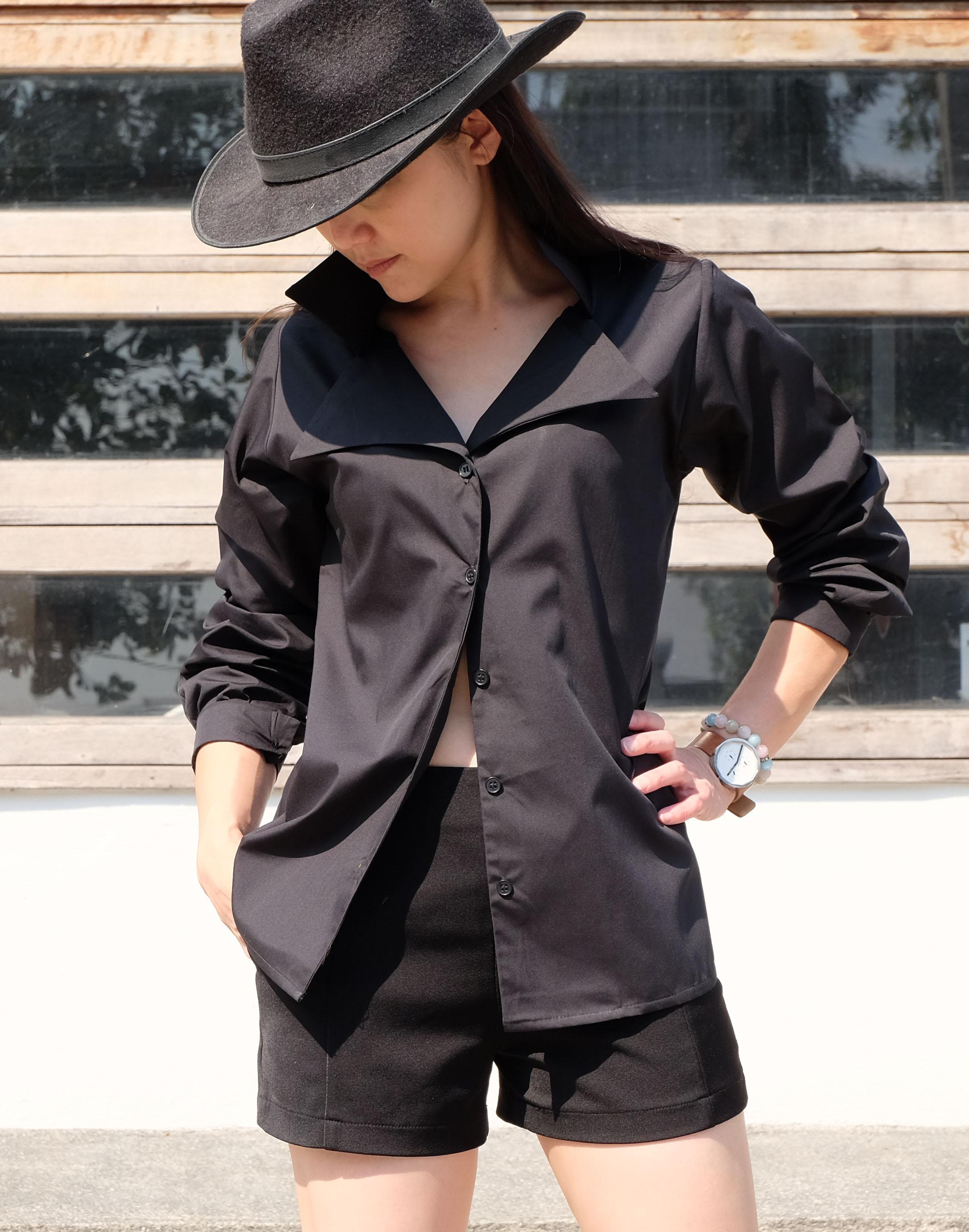 เสื้อเชิ้ตปกเชิ้ต แขนยาว สีดำ Size XL