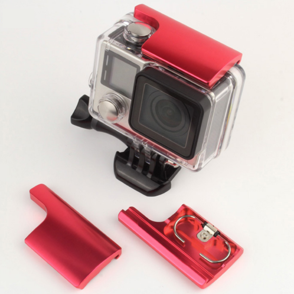 UPPER LOCK BUCKLE HOUSING (ALUMINIUM) FOR GOPRO HERO 4 / 3+ สีแดง