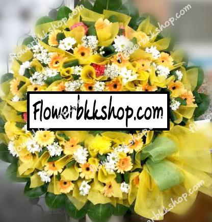 พวงหรีดดอกไม้สด รหัส WWR06
