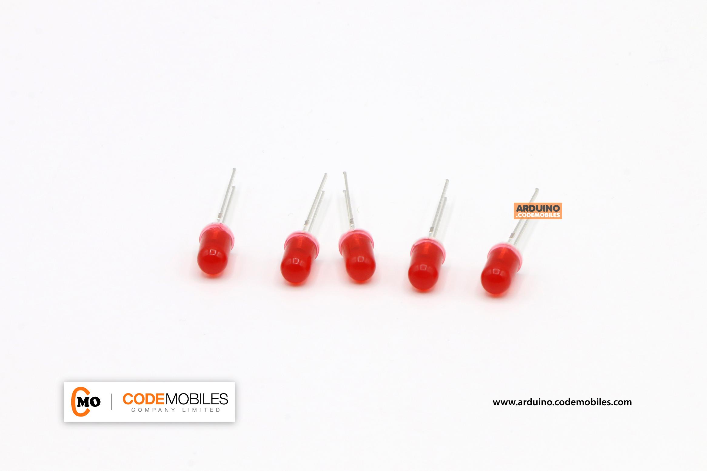 LED 5mm สีแดง จำนวน 5 ชิ้น
