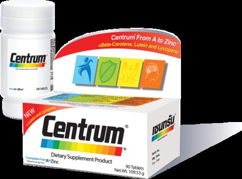 Centrum Dietary Supplement Product Complete From A To Zinc 90 Tablets วิตามินและเกลือแร่รวม 22 ชนิด พร้อมเบตาแคโรทีน ลูปีน และไลโคปีน เพื่อการบำรุงร่างกายและระบบประสาท