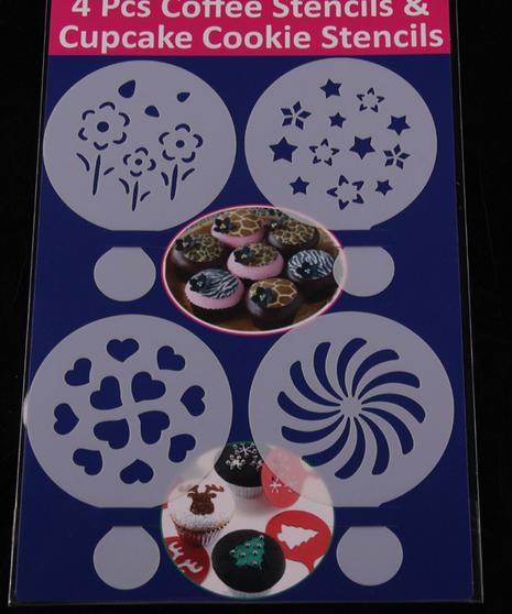 แผ่นแต่งหน้าคัพเค้ก คุ๊กกี้ แต่งหน้ากาแฟ 4 แบบ ลายดอกไม้ หัวใจ CAKE STENCILS BAKE233