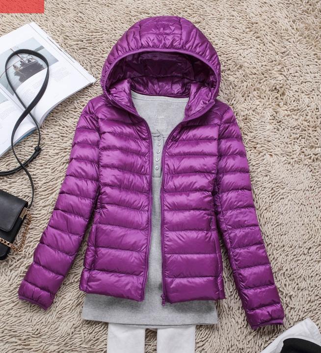 Women's Ultra light slim Down jacket ผสมขนเป็ด Duck down 90% !! (สีม่วง)