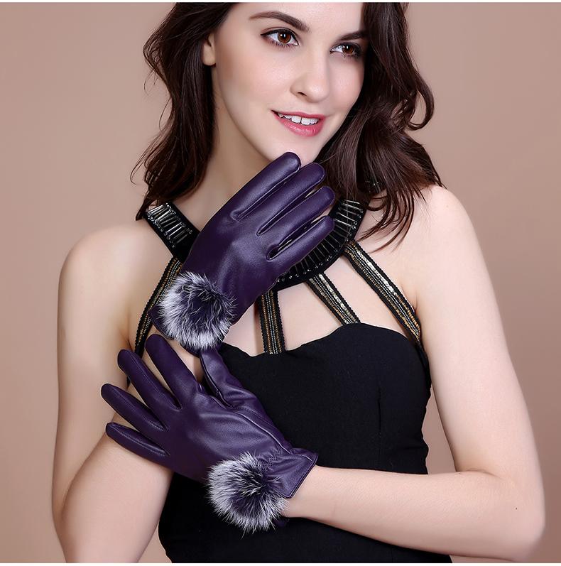ถุงมือหนัง PU Collar lady glove (สีม่วง)