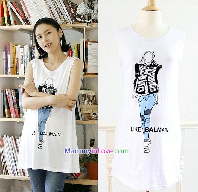 เสื้อคลุมท้องแขนกุด ลาย Like Balmain : สีขาว รหัส SH044