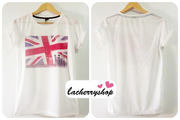 (หมดจ้า) เสื้อยืด เสื้อสกรีน สีขาว ลาย กราฟฟิก รูปธงชาติอังกฤษ United Kingdom Flag สีสันสดใส เท่ๆ แนวๆ วินเทจ